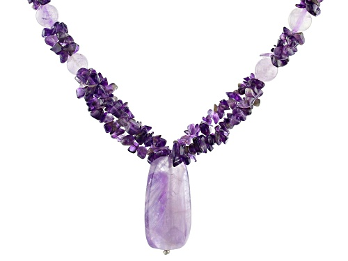 Photo of Free-form Nugget, Round and Custom Drop Endless Amethyst 3-Strand Sterling Silver Bead Necklace - Size 28