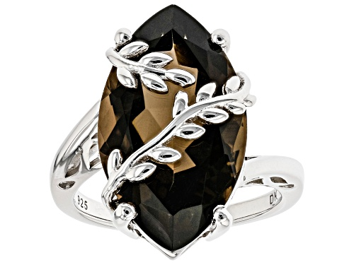 Photo of 9.50ct Marquise Smoky Quartz Rhodium Over Sterling Silver Leaf Detail Solitaire Ring - Size 7