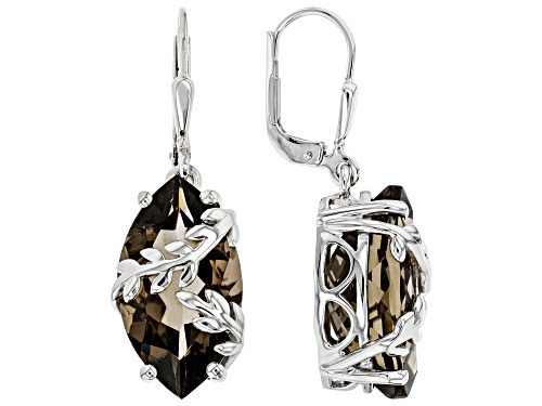 Photo of 11.50ctw Marquise Smoky Quartz Solitaire, Rhodium Over Sterling Silver Leaf Detail Dangle Earrings
