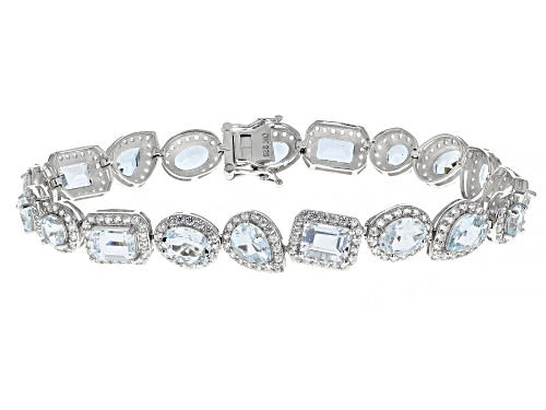 Photo of 11.50ctw Mixed Shape Aquamarine With 4.36ctw Zircon Rhodium Over Silver Tennis Bracelet - Size 8