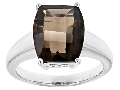Photo of 4.57CT BARREL SMOKY QUARTZ RHODIUM OVER STERLING SILVER SOLITAIRE RING - Size 7