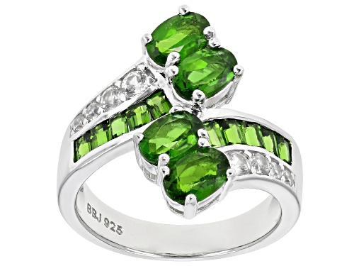 Photo of 2.31ctw Chrome Diopside With 0.44ctw Round White Zircon Rhodium Over Sterling Silver Bypass Ring - Size 7