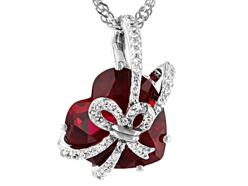 Photo of 12mm Lab Created Ruby with Round White Zircon Rhodium Over Sterling Silver Heart Slide With Chain
