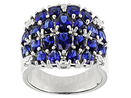 Photo of 4.49ctw Pear Shape Lab Created Blue Sapphire Rhodium Over Sterling Silver Dome Ring - Size 7