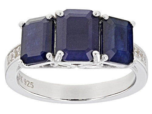 Photo of 2.75ctw Emerald Cut Blue Sapphire & .09ctw White Zircon Rhodium Over Sterling Silver 3-Stone Ring - Size 7