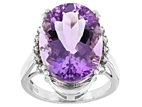 Photo of 10.63ct Oval Rose de France Amethyst With .04ctw Zircon Rhodium Over Sterling Silver Ring - Size 8