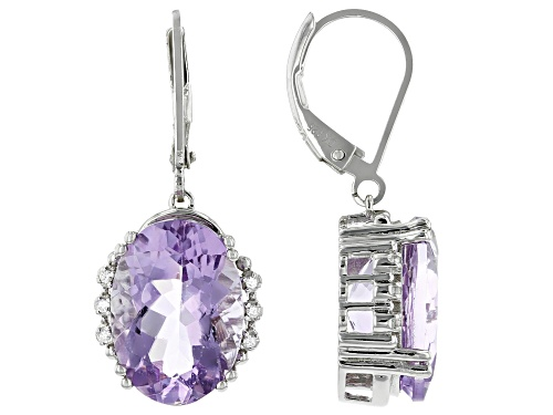Photo of 10.03ctw Oval Rose de France Amethyst and .05ctw Zircon  Rhodium Over Silver Dangle Earrings