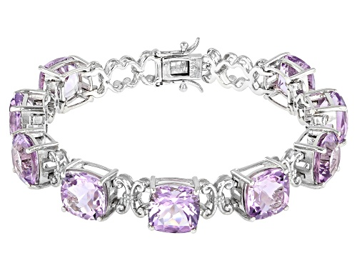 Photo of 30.60ctw Square Cushion Rose de France Amethyst Rhodium Over Sterling Silver Bracelet - Size 7.25