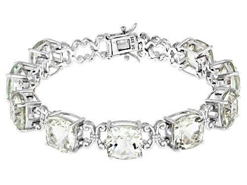 Photo of 30.60ctw Square Cushion Prasiolite Rhodium Over Sterling Silver Bracelet - Size 7.25