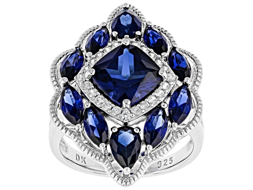 Photo of 5.18ctw Mixed Shape Lab Created Blue Sapphire & .35ctw Round White Zircon Rhodium Over Silver Ring - Size 8