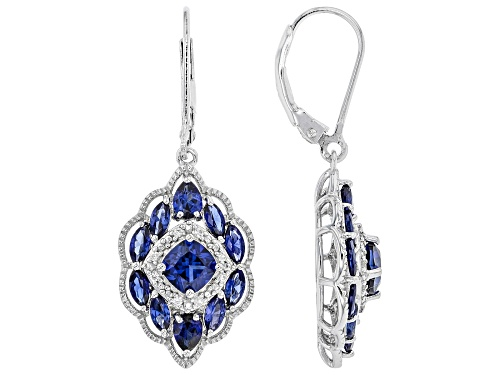 Photo of 3.04ctw Mixed Shape Lab Created Blue Sapphire & .11ctw White Zircon Rhodium Over Silver Earrings