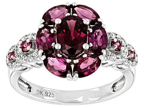 Photo of 2.76ctw Oval And Round Raspberry Color Rhodolite With .11ctw Zircon Rhodium Over Silver Ring - Size 8