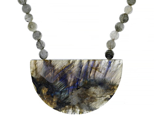 Photo of Free-Form and Round Labradorite Bead Rhodium Over Sterling Silver Necklace - Size 18