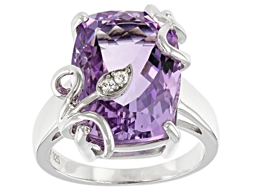 Photo of 8.50ct Rectangular Cushion Rose de France Amethyst With .05ctw Zircon Rhodium Over Silver Ring - Size 8