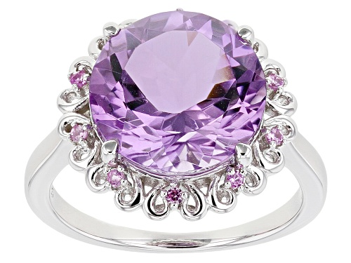 Photo of 5.27ct Round Rose de France Amethyst With .17ctw Lab Created Sapphire Rhodium Over Silver Halo Ring - Size 8