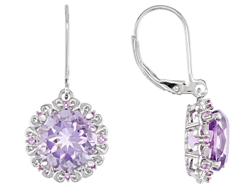 Photo of 5.95ctw Round rose de France Amethyst With .14ctw Lab Created Sapphire Rhodium Over Silver Earrings