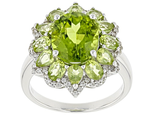 Photo of 5.82ctw Oval and Pear Shape Manchurian Peridot™ with .43ctw White Zircon Rhodium Over Silver Ring - Size 8