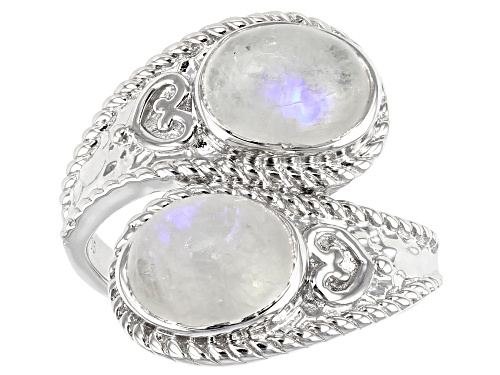 Photo of 9X7MM OVAL RAINBOW MOONSTONE RHODIUM OVER STERLING SILVER 2-STONE BYPASS RING - Size 7