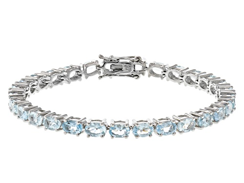 Photo of 10.35ctw Oval Aquamarine Rhodium Over Sterling Silver Tennis Bracelet - Size 8