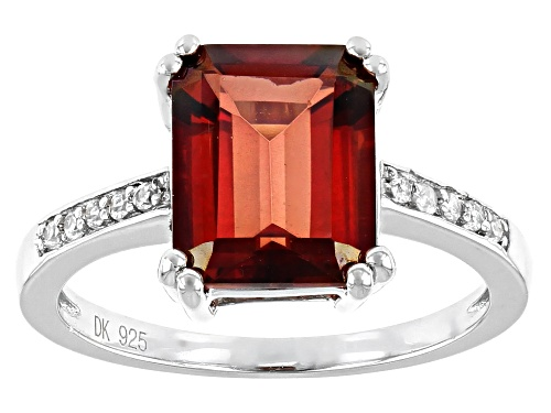 Photo of 2.65ct Emerald Cut Red Labradorite With .12ctw Round White Zircon Rhodium Over Sterling Silver Ring - Size 7