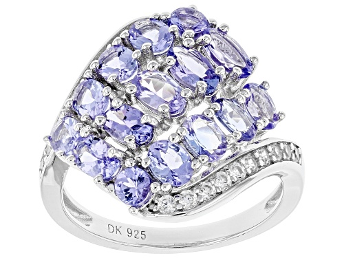 Photo of 2.30ctw Oval And Round Tanzanite With .26ctw Zircon Rhodium Over Silver Cluster Ring - Size 8