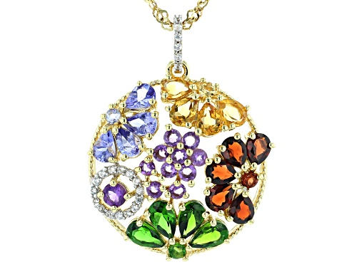 Photo of 3.67ctw Multi-Color Gemstone 18k Yellow Gold Over Silver Pendant With Chain