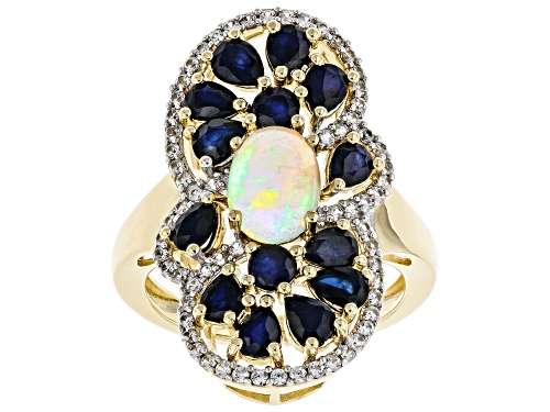 Photo of .71ct Oval Ethiopian Opal, 2.12ctw Blue Sapphire And .31ctw Zircon 18k Yellow Gold Over Silver Ring - Size 7