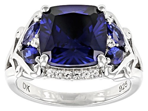Photo of 5.04ctw Mixed Shape Lab Created Blue Sapphire & .23ctw White Zircon Rhodium Over Silver Ring - Size 7
