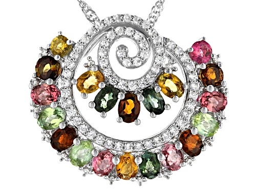 Photo of 3.84CTW MULTI TOURMALINE WITH WHITE ZIRCON RHODIUM OVER STERLING SILVER PENDANT WITH CHAIN