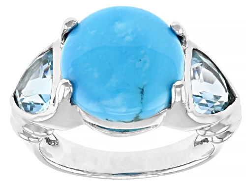 Photo of 12mm Round Turquoise with 2.42ctw Trillion Glacier Topaz™ Rhodium Over Sterling Silver Ring - Size 7