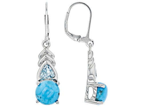 8mm Round Turquoise with .92ctw Trillion Glacier Topaz™ Rhodium Over Silver Dangle Earrings