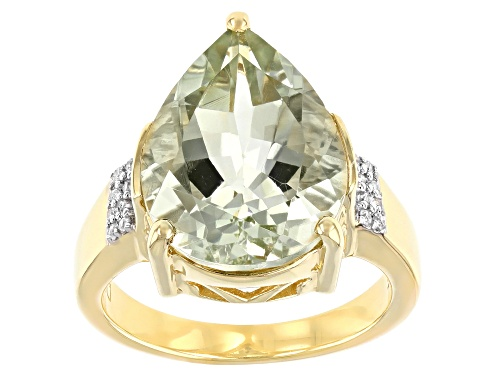 Photo of 6.46ct Pear Shape Green Prasiolite With Round White Zircon 18k Yellow Gold Over Silver Ring - Size 7