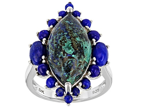 Photo of 20x10mm Marquise Azurmalachite With Oval and Round Lapis Lazuli Rhodium Over Silver Ring - Size 7