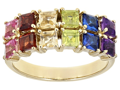 Photo of 1.66ctw Square Multi-Color Gemstone 18k Yellow Gold Over Silver Band Ring - Size 7