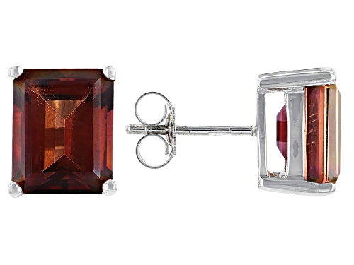Photo of 5.32ctw Emerald Cut Red Labradorite Rhodium Over Sterling Silver Stud Earrings