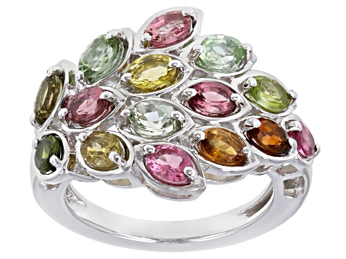 Photo of 2.42ctw Oval Multi-Color Tourmaline Rhodium Over Sterling Silver Cluster Ring - Size 8