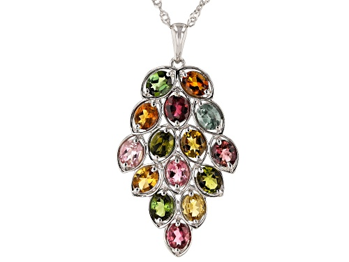 Photo of 4.20ctw Oval Multi-Tourmaline Rhodium Over Sterling Silver Cluster Pendant With Chain