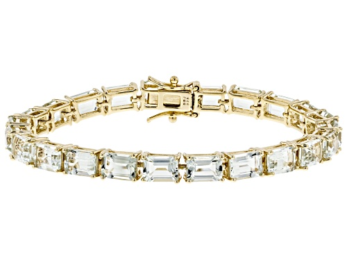 Photo of 18.61CTW EMERALD CUT PRASIOLITE 18K YELLOW GOLD OVER STERLING SILVER BRACELET - Size 8