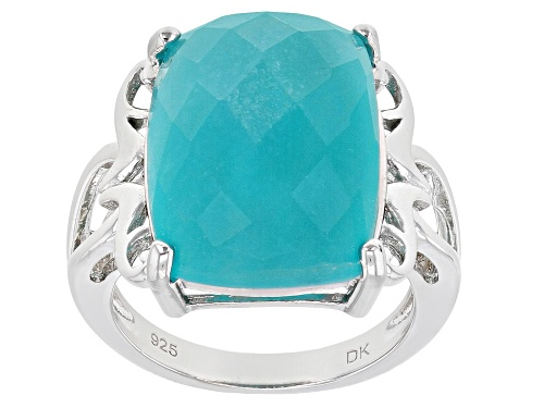 Photo of 18x13mm Rectangular Cushion Checkerboard Cut Amazonite Rhodium Over Sterling Silver Ring - Size 7