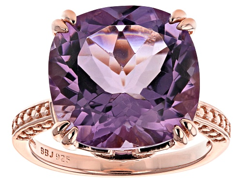 Photo of 8.73CT CUSHION Rose de France AMETHYST 18K ROSE GOLD OVER STERLING SILVER RING - Size 8