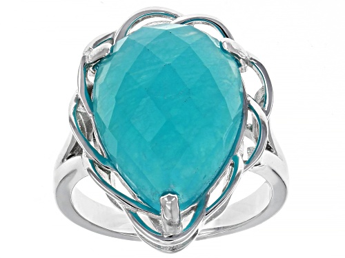 Photo of 18x13mm Pear Shape Checkerboard Cut Amazonite Rhodium Over Sterling Silver Ring - Size 7