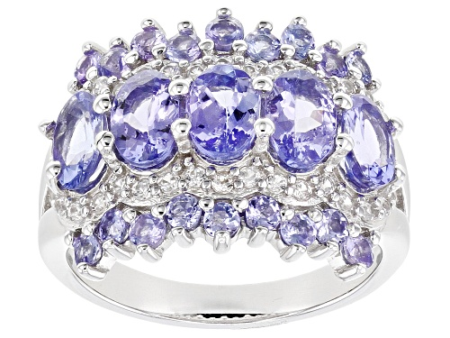 Photo of 1.91ctw Oval and .68ctw Round Tanzanite with .36ctw White Zircon Rhodium Over Silver Band Ring - Size 7