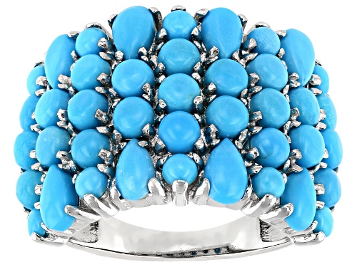 Photo of 3mm and 2.50mm Round and 5X3mm Pear Shape Sleeping Beauty Turquoise Rhodium Over Silver Band Ring - Size 7