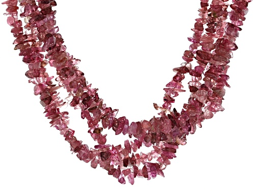 Free-Form Pink Tourmaline Rhodium Over Silver Multi-Row Beaded Necklace - Size 19