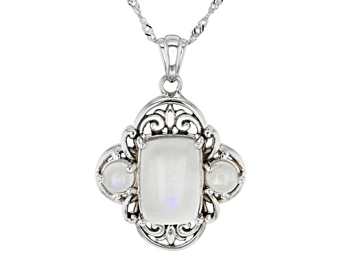 Photo of Rectangular Cushion & Round Rainbow Moonstone Rhodium Over Silver 3-Stone Pendant With Chain