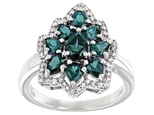 Photo of 1.68ctw Pear Shape Lab Created Alexandrite with .24ctw Round White Zircon Rhodium Over Silver Ring - Size 8