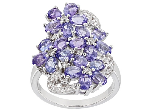 Photo of 3.09ctw Tanzanite, .45ctw White Zircon and .03ctw Diamond Accent Rhodium Over Silver Flower Ring - Size 7