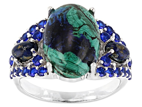 Photo of 14x10mm & 5x3mm Oval Azurmalachite and .72ctw Round Lab Created Spinel Rhodium Over Silver Ring - Size 7