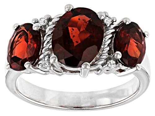 Photo of 3.59ctw Oval Vermelho Garnet(TM) and .03ctw Round White Zircon Rhodium Over Silver Ring - Size 7