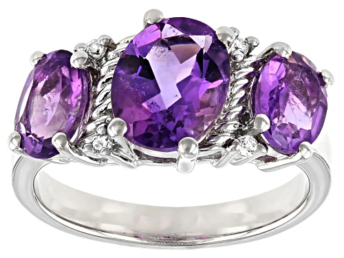 Photo of 2.81ctw Oval Amethyst and .03ctw Round White Zircon Rhodium Over Sterling Silver Ring - Size 7